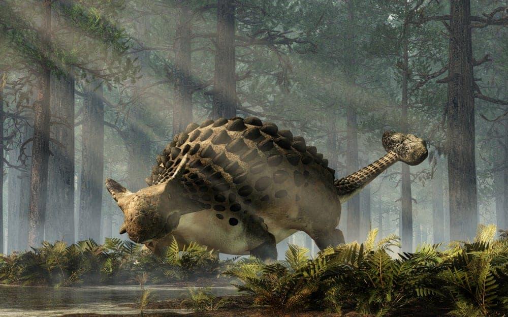 Ankylosaurus dinosaur in a jungle.