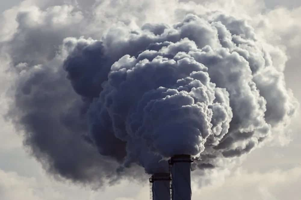 Harmful gases emitted from factories.