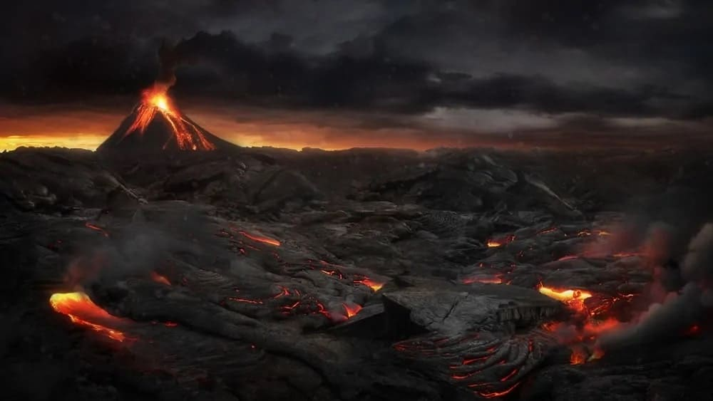 Lava as it oozes out of a volcano.