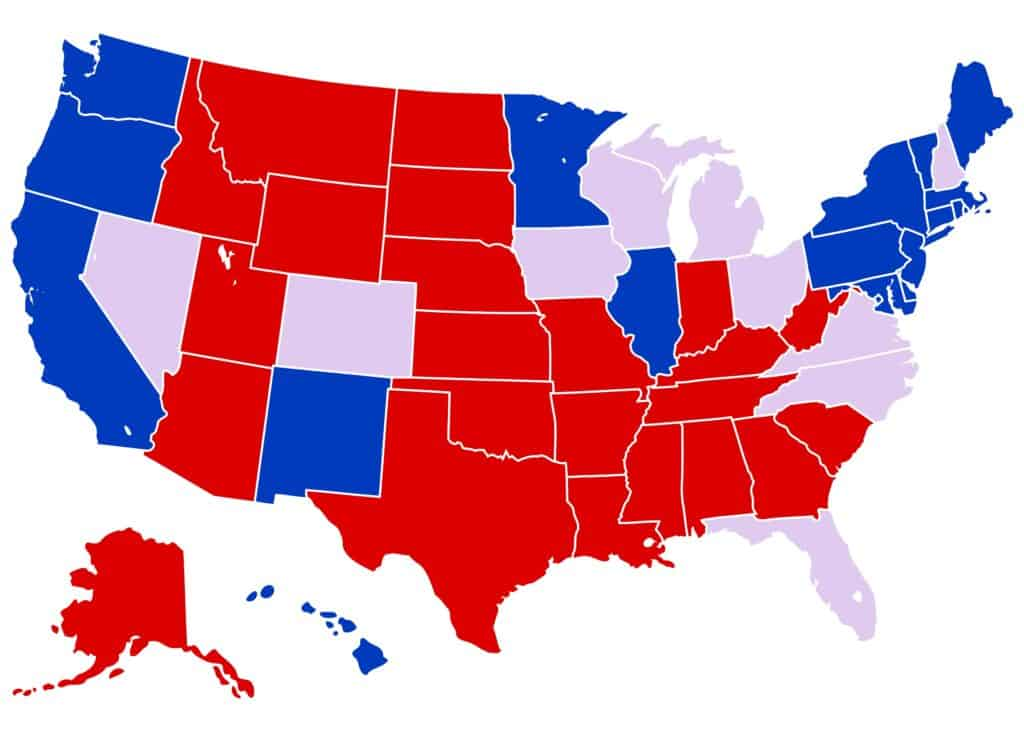 Election result map of the United States