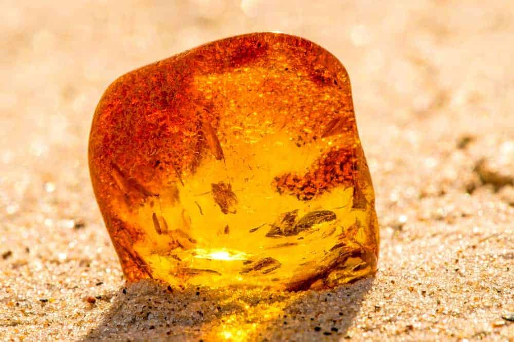 Amber on a beach in Baltic Sea