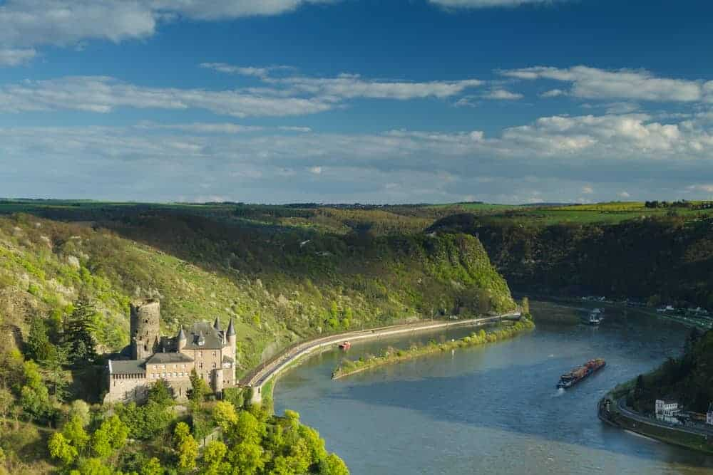 Rhein River valley with the Castle Katz in Germany.
