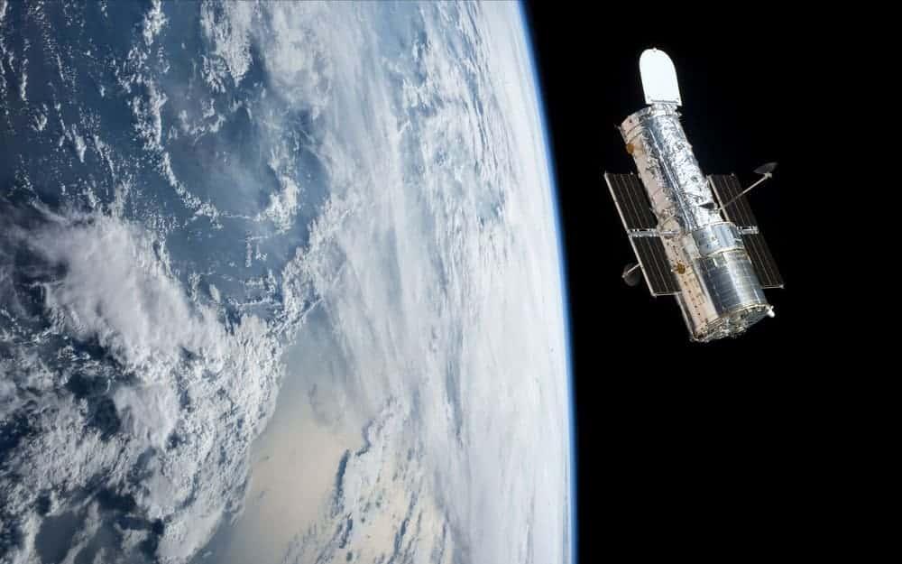 Hubble space telescope orbiting planet earth