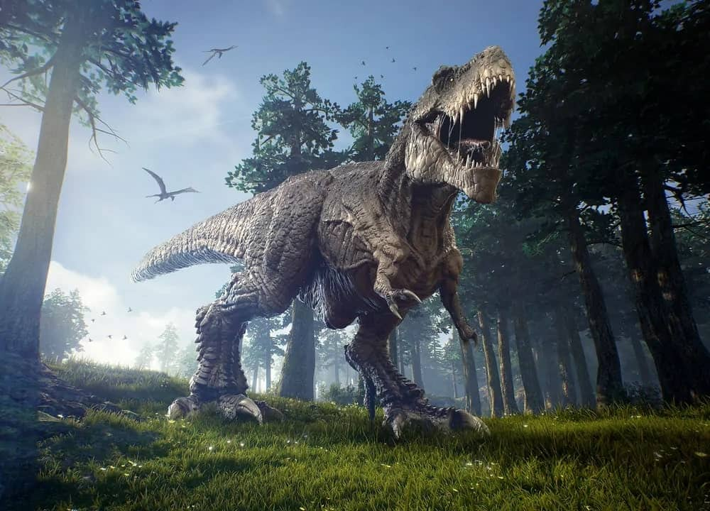 An angry Tyrannosaurus Rex roaming the forest.