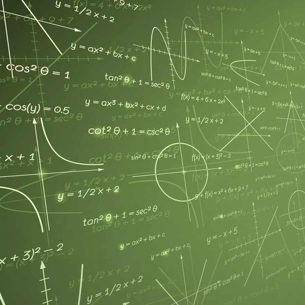 Mathematical equations against the green background.