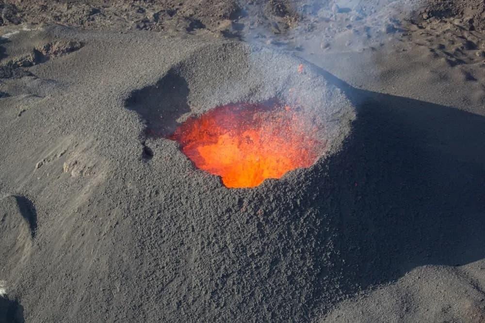 Magma inside a volacano.