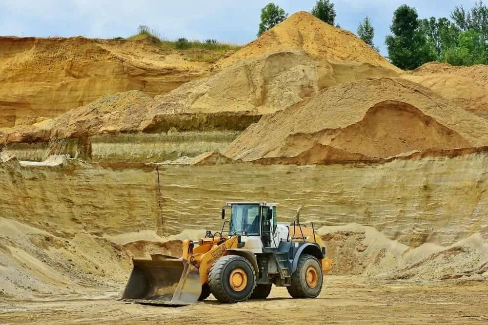 Mining equipment on the site.