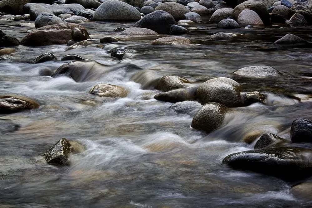 A flowing stream with lots of rocks.