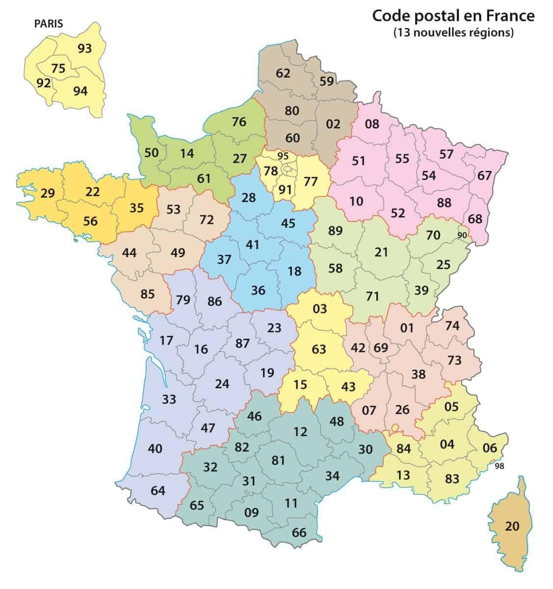 Zip code map of France