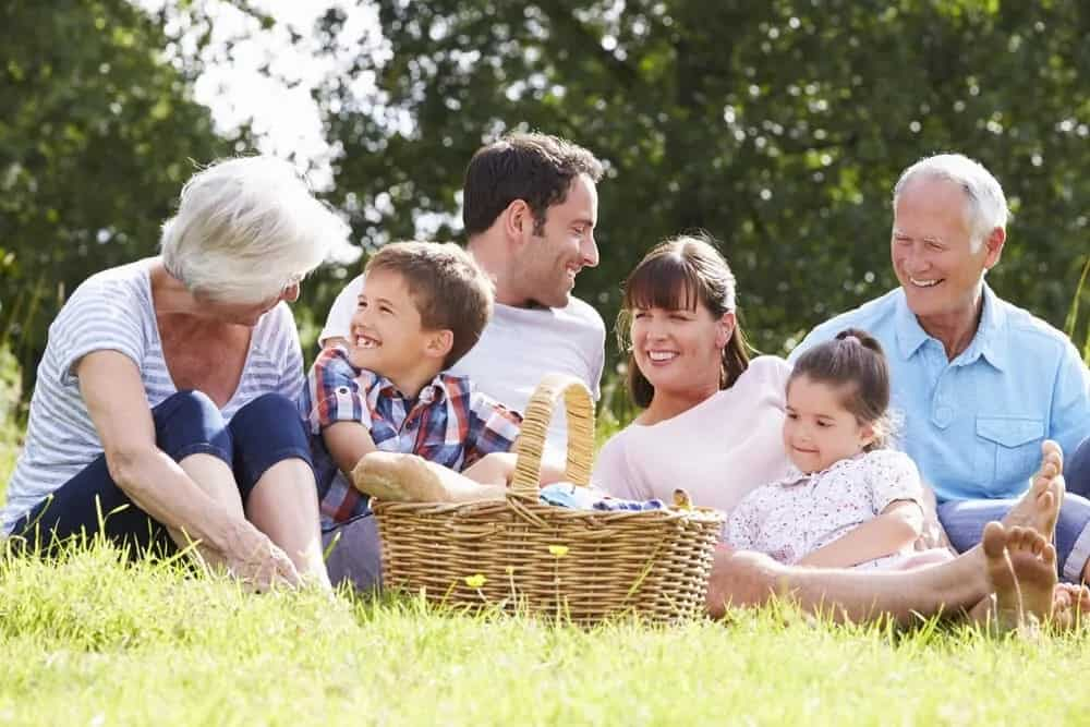 An extended family having a picnic on the park.