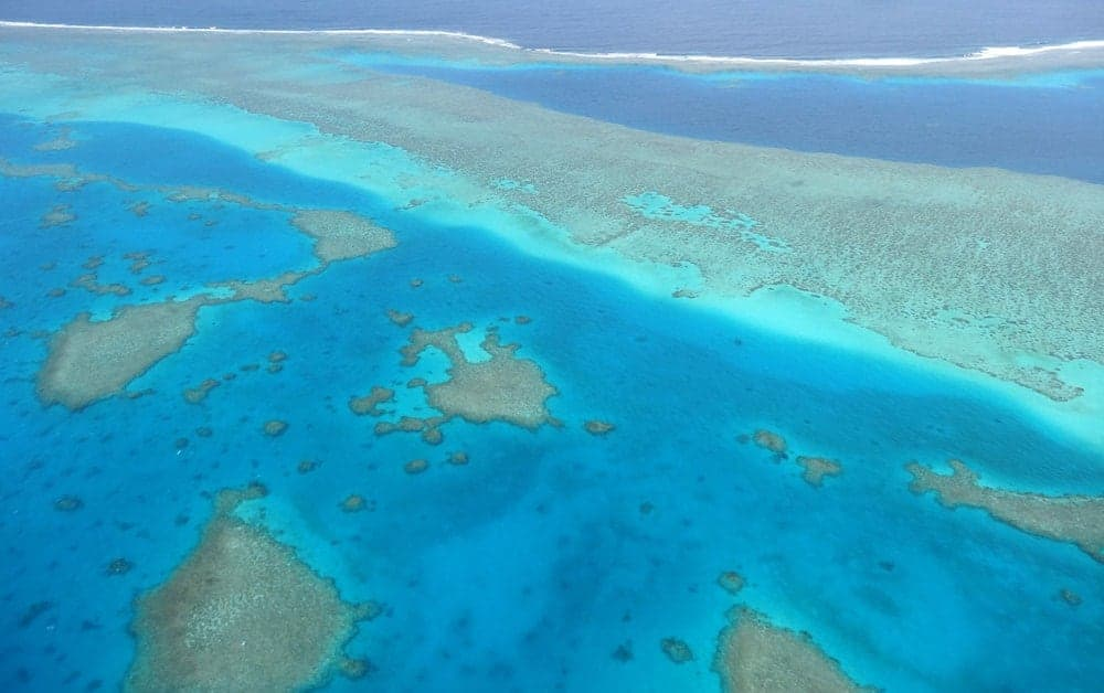 Aerial view of the New Caledonia Barrier reef.