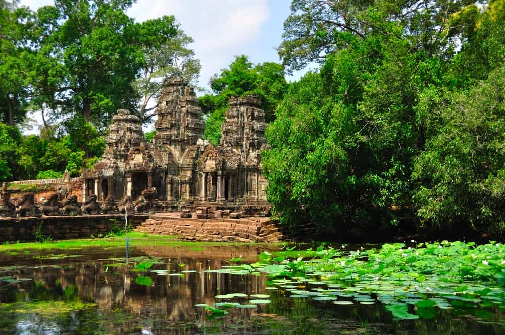 Ancient temple ruins in the jungle.