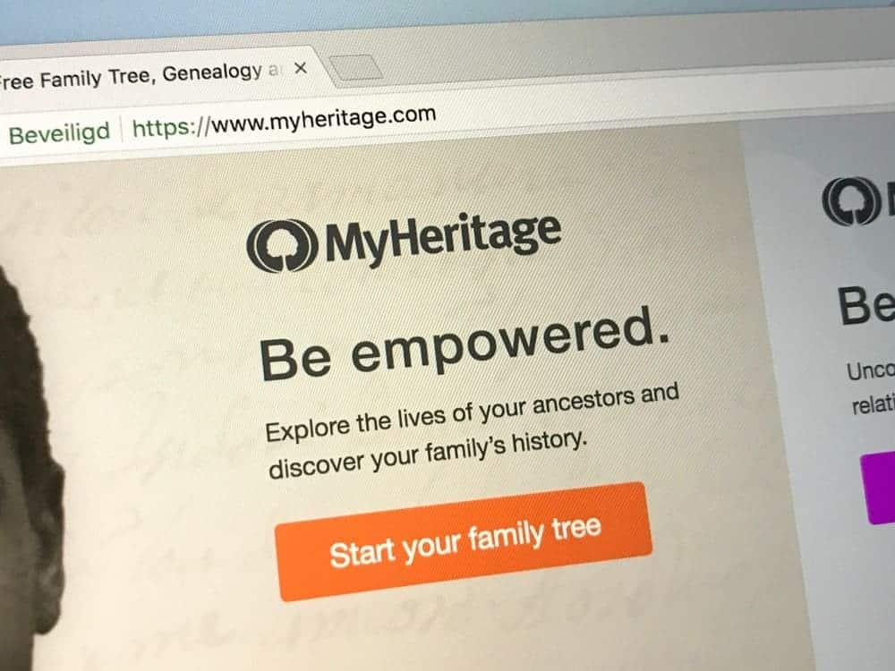 Homepage of MyHeritage website.