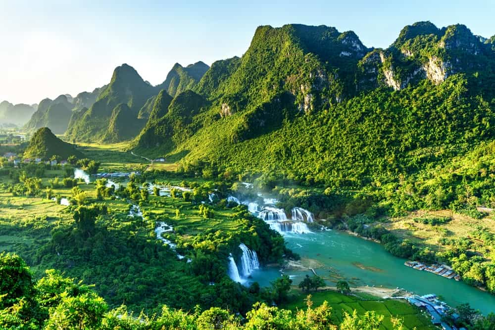 Aerial view of Ban Gioc waterfall.