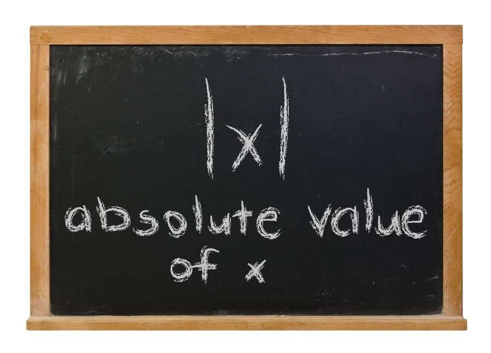 Absolute value of x written on a black board.