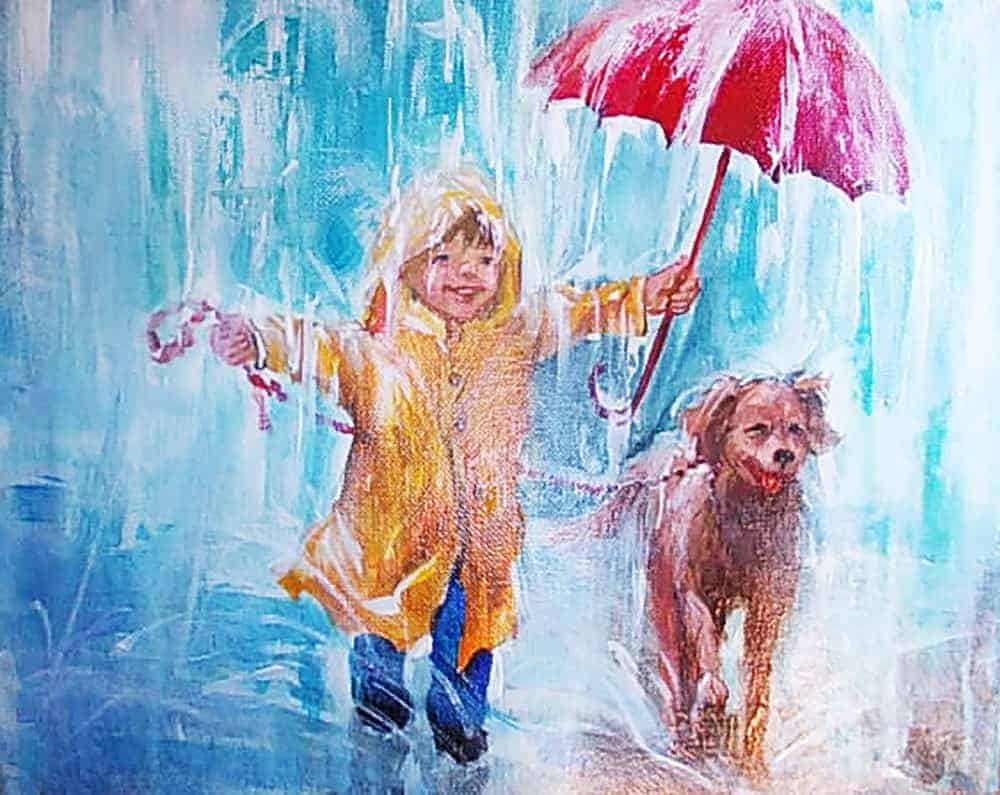 Oil painting of a young boy in yellow raincoat happily holding an umbrella for his pet dog as they walk through the rain.