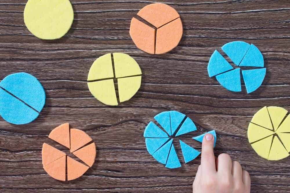 Child's hand playing with colorful pie and fraction charts.