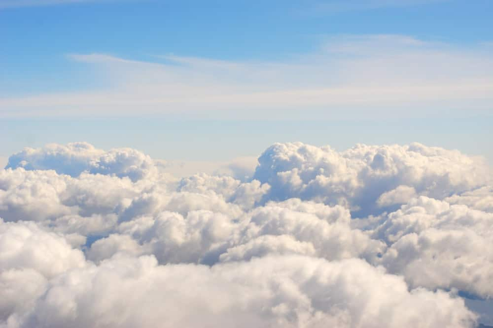A bunch of thick and fluffy clouds as seen from above.