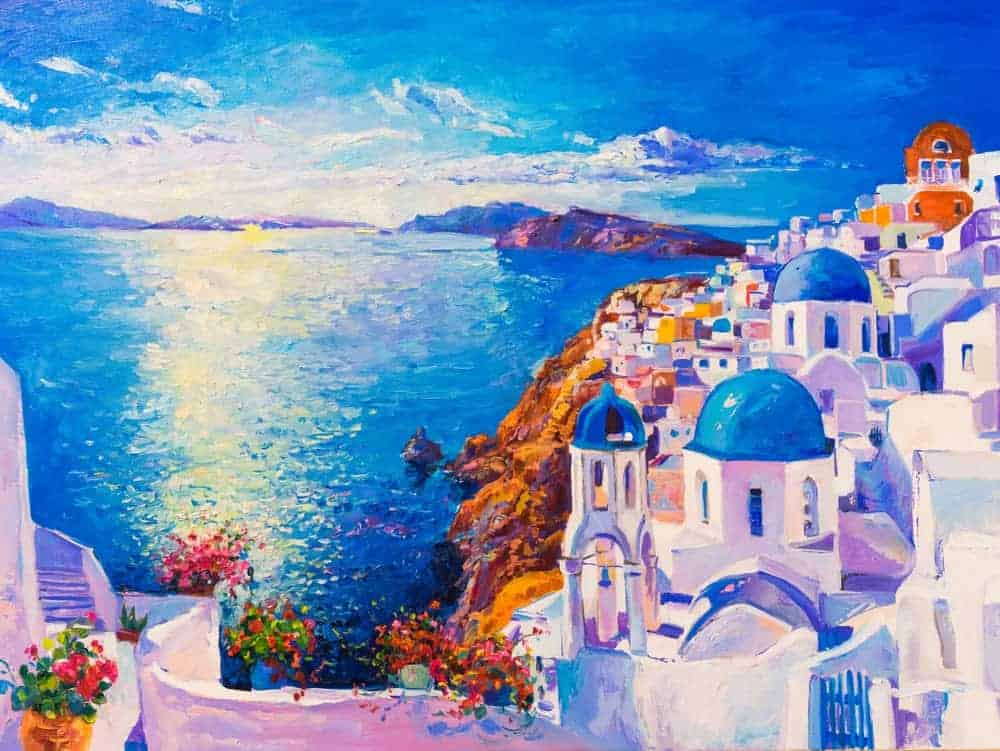 Painting of the Greek houses overlooking the blue sea in Santorini, Greece.