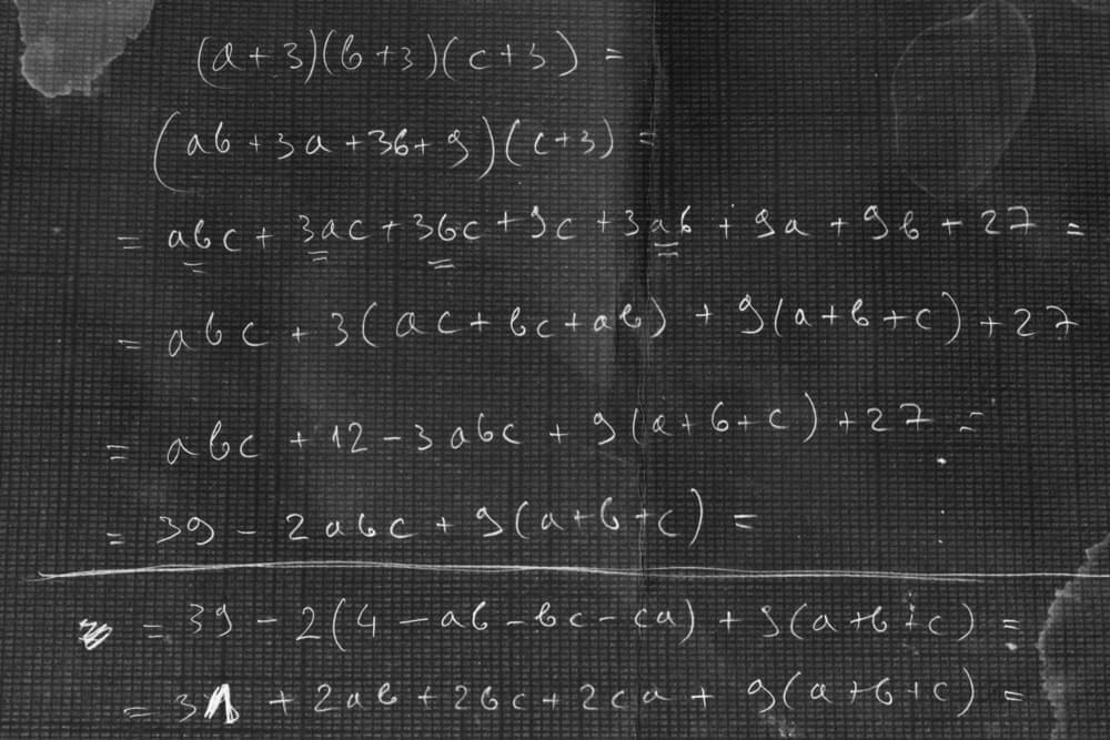Polynomial equation written on the black board.