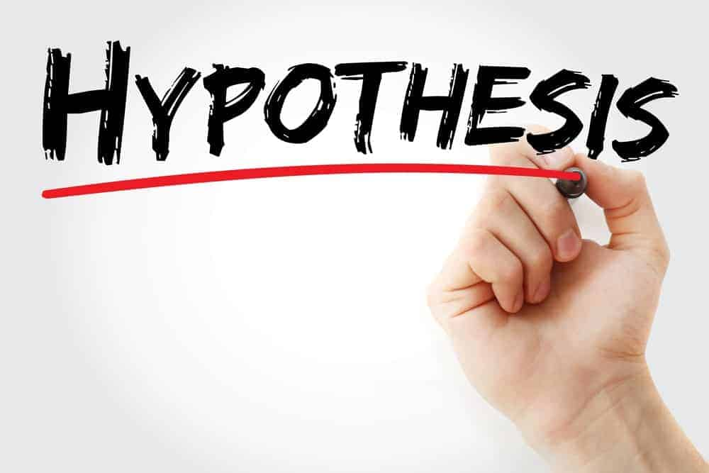 """A hand highlighting the word """"hypothesis"""" with a red mark."""