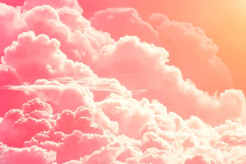 A close look at pink clouds in the sky.