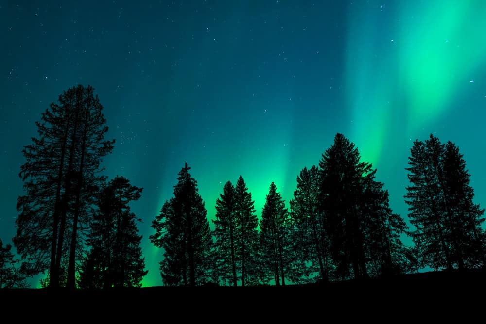 The colorful lights of the Aurora Borealis against the night sky.