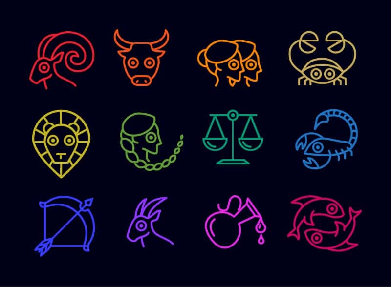 The 12 zodiac signs against a black background.